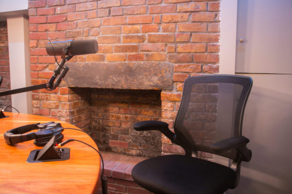 NYC Podcasting Studio A Fireplace | NYC Podcasting : Rent a podcast studio in NYC