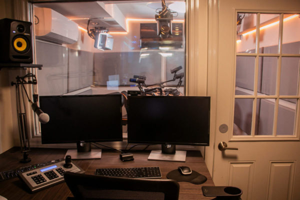 Studio B Control Booth | NYC Podcasting : Rent a podcast studio in NYC